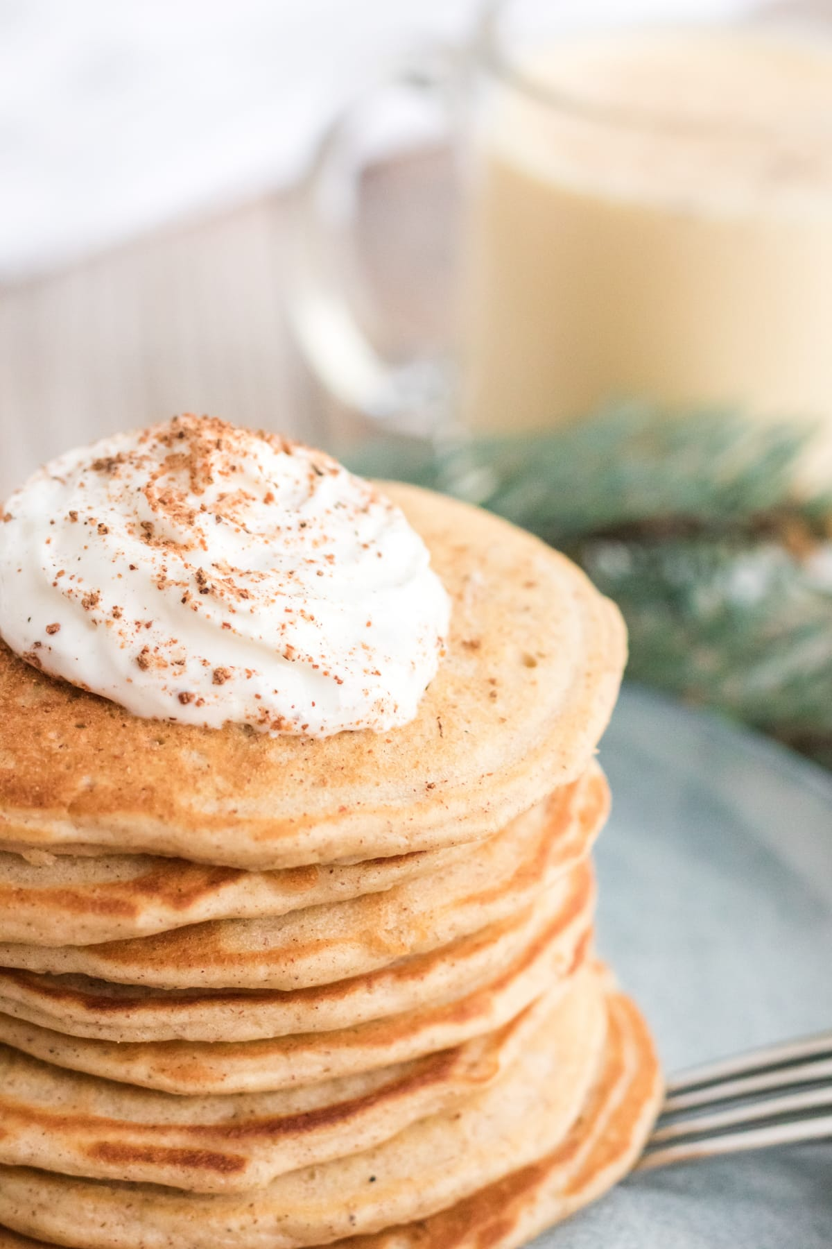 eggnog pancakes Christmas breakfast idea