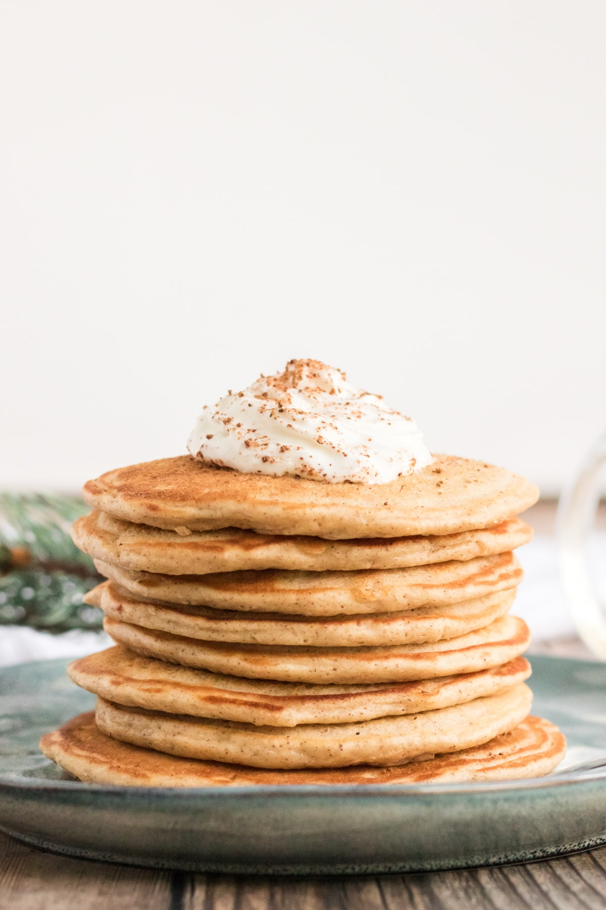 stack of delicious homemade eggnog pancakes