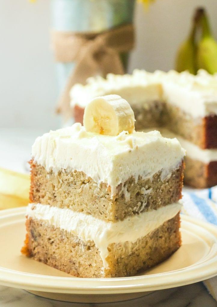 Banana Cream Cake on a yellow plate