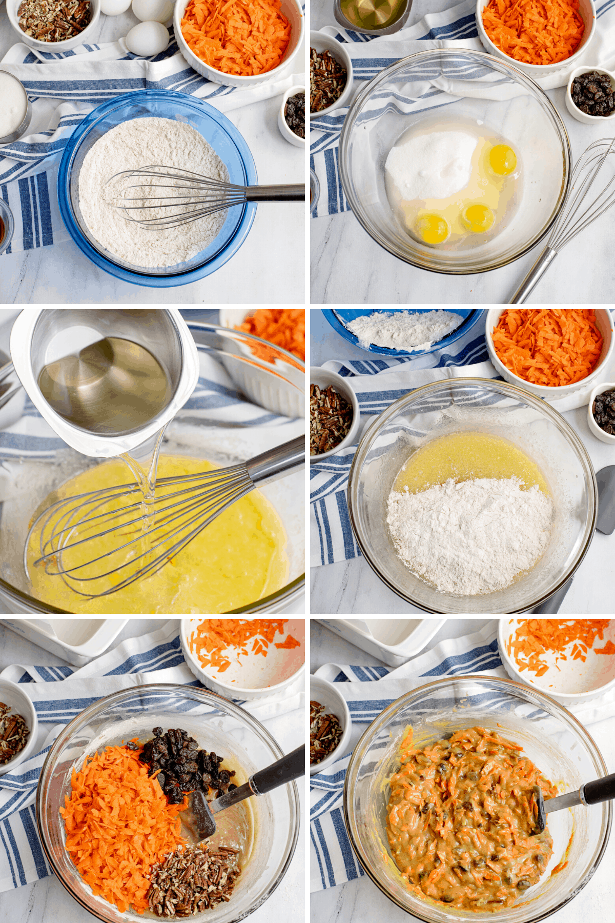 step by step photos of making carrot cake loaf mix
