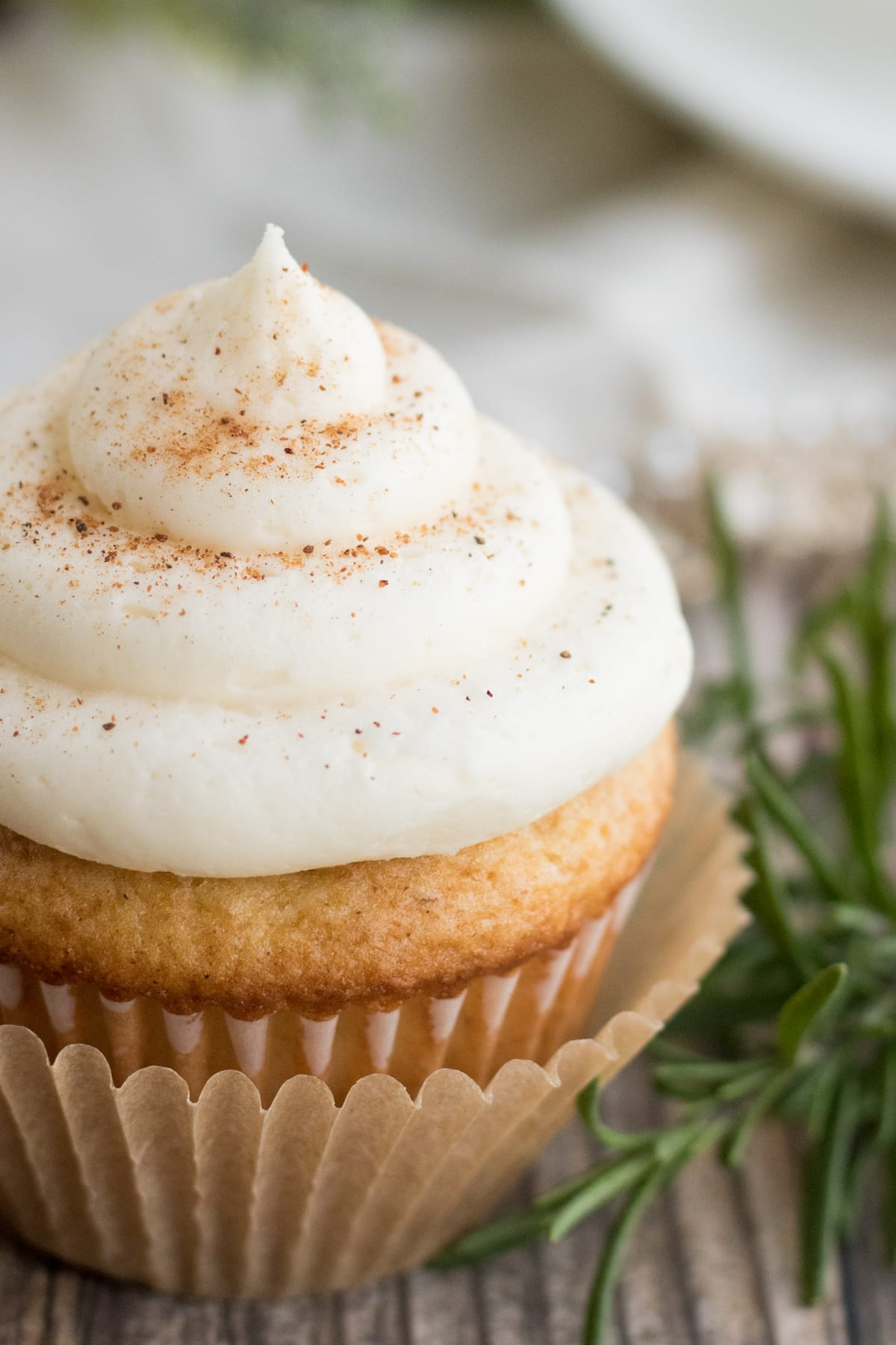 Close up of eggnog cupcake and buttercream icing