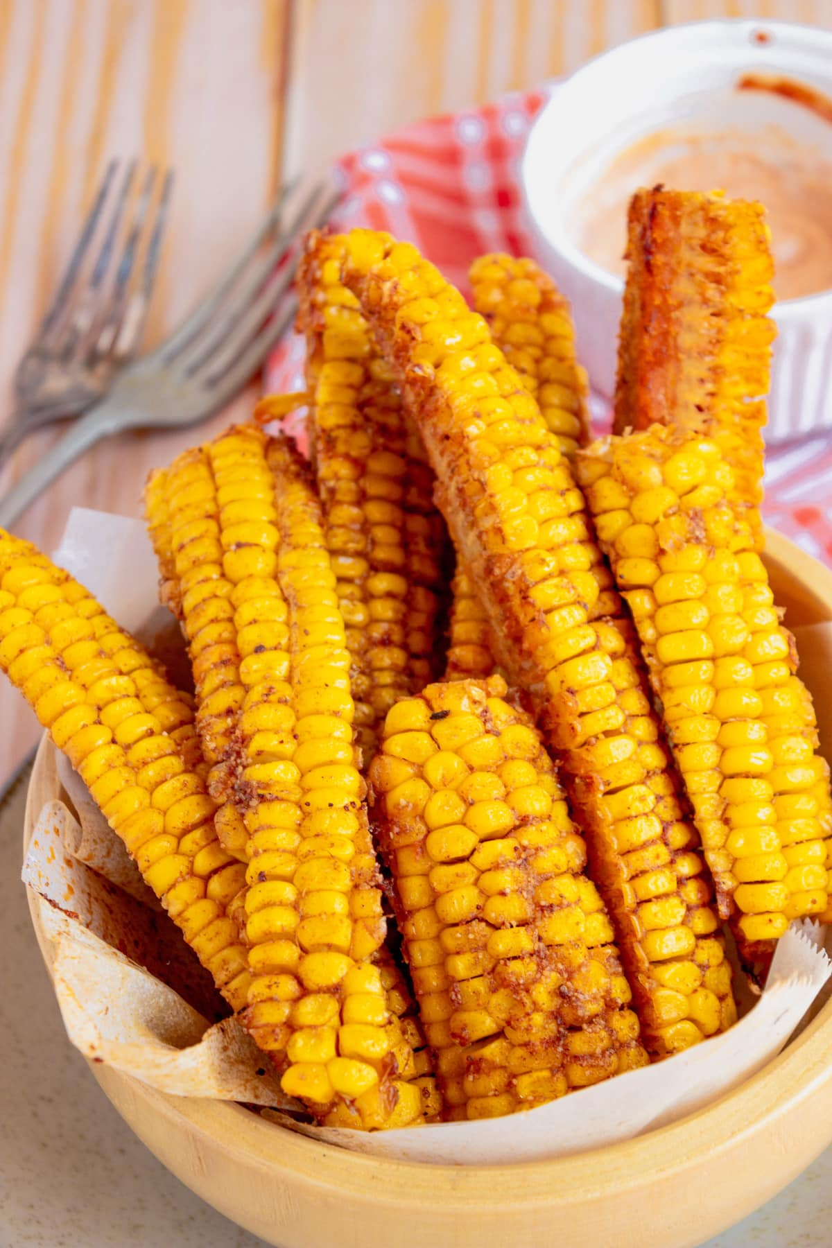 corn riblets with paprika dipping sauce